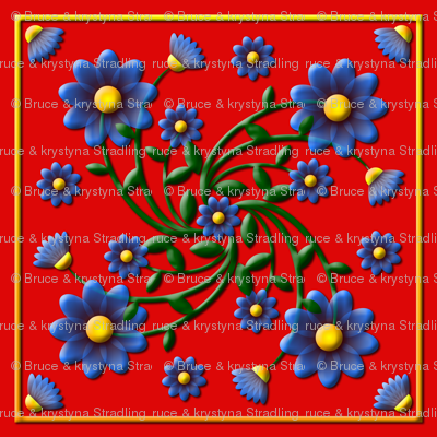 Forget_me_not_embossed_Red_SCARF