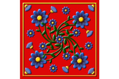 Forget_me_not_embossed_Red_SCARF fabric by stradling_designs on Spoonflower - custom fabric