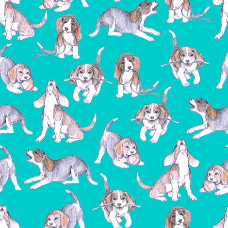 Beagle Pups on Robin's Egg Blue fabric by eclectic_house on Spoonflower - custom fabric