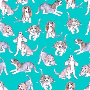 Beagle Pups on Robin's Egg Blue