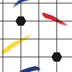 Postmodern Primary Brushstrokes Grid