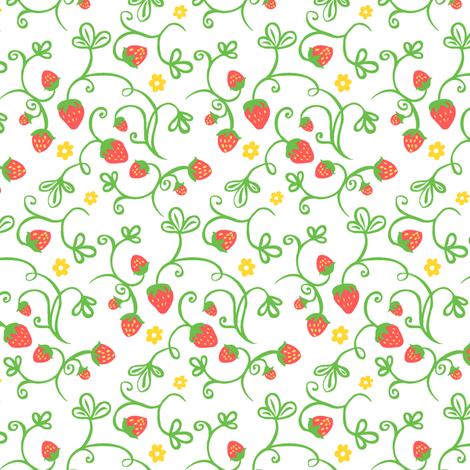 Wild Strawberry Fields, Red fabric by havemorecake on Spoonflower - custom fabric