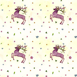 Watercolor purple deer