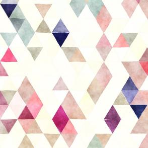 Diamonds Watercolor Triangles