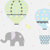 Pastel Hot Air Balloon Elephant on Gray