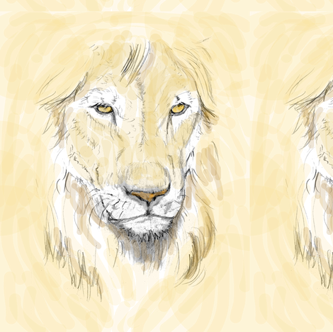 Lion Portrait, Tinted 2 fabric by eclectic_house on Spoonflower - custom fabric