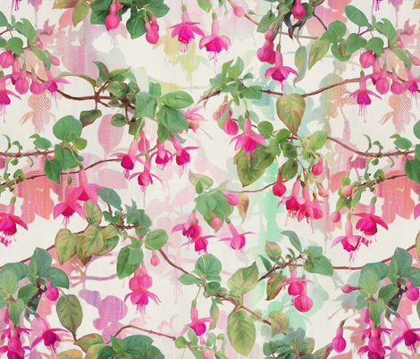 Rainbow Fuchsia Floral Painted Pattern Large Print fabric by micklyn on Spoonflower - custom fabric