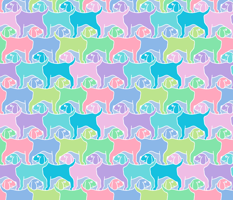 Smaller Rainbow Dogs White Border fabric by elramsay on Spoonflower - custom fabric