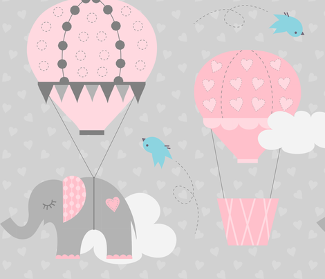 Hot Air Balloon Elephant Fabric Jenniferfranklin