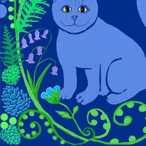 Scandinavian Cats in bluebells (large) // woodland anima;s
