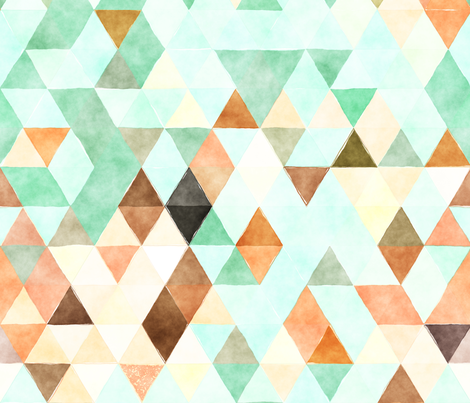 Marmalade Watercolor Triangles fabric by creativeqube_design on Spoonflower - custom fabric