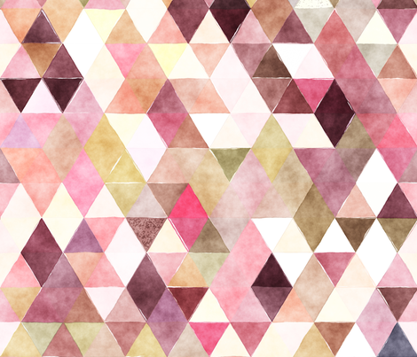 Blackberry Patch Watercolor Triangles fabric by creativeqube_design on Spoonflower - custom fabric
