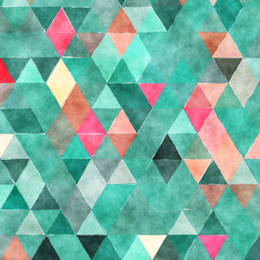 Deep Forest Watercolor Triangles