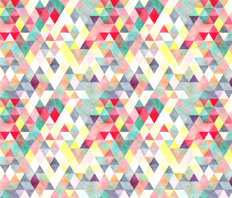 Bright Bots Watercolor Triangles fabric by creativeqube_design on Spoonflower - custom fabric