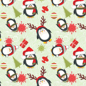 Holiday Penguins Green Christmas