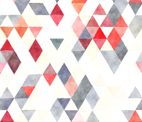 Marching Band Watercolor Triangles fabric by creativeqube_design on Spoonflower - custom fabric