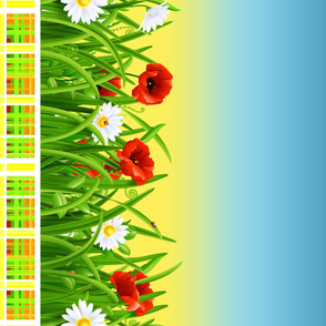Poppies_and_Daisies_with_Grass_border_fabric_10
