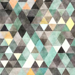 Dark Night Watercolor Triangles