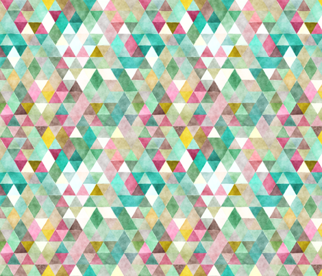 Playground Watercolor Triangles fabric by creativeqube_design on Spoonflower - custom fabric