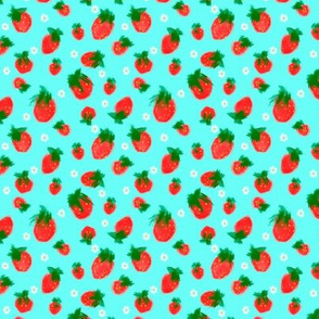 Grandmas Strawberries Teal