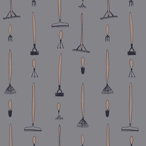 Garden tools - slate and mushroom fabric by crumpetsandcrabsticks on Spoonflower - custom fabric