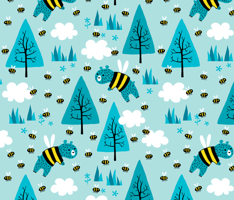 Bears trying to be Bees fabric by heleen_vd_thillart on Spoonflower - custom fabric