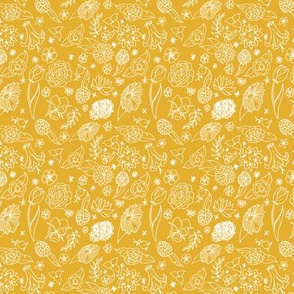 White floral on ochre