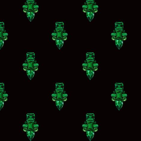 Jewelbox: Emerald Brooch Repeat in Black Onyx fabric by elliottdesignfactory on Spoonflower - custom fabric
