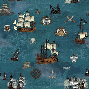 Pirate Ship Map Ocean Big Repeat