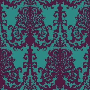 Ornate Gate Damask Teal + Purple