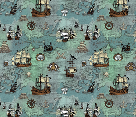 Pirate Ships Map Blue Small Repeat fabric by teja_jamilla on Spoonflower - custom fabric