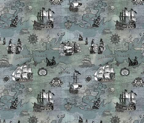 Pirate Ships Map Grey Small fabric by teja_jamilla on Spoonflower - custom fabric
