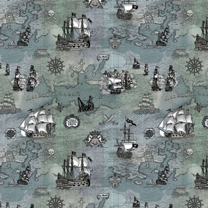 Pirate Ships Map Grey Small