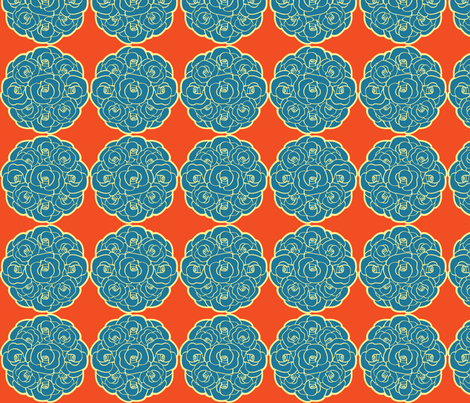 Rosette Bouquet Blue, Yellow, Orange fabric by amyperrotti on Spoonflower - custom fabric