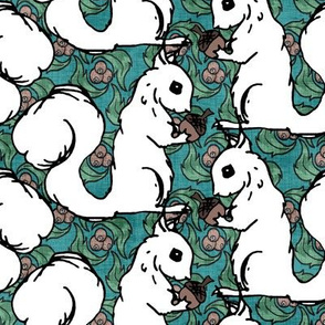 White Squirrels on Teal