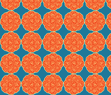 Rosette Bouquet Orange, Yellow, Blue fabric by amyperrotti on Spoonflower - custom fabric