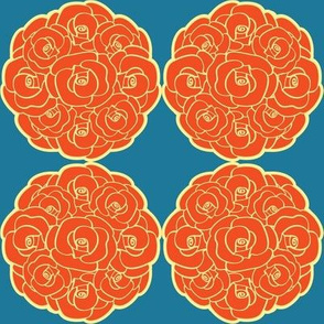 Rosette Bouquet Orange, Yellow, Blue