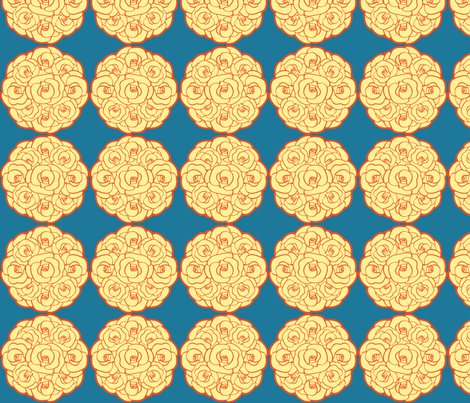 Rosette Bouquet Yellow, Orange, Blue fabric by amyperrotti on Spoonflower - custom fabric