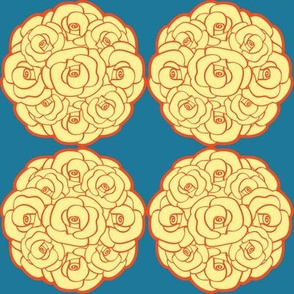 Rosette Bouquet Yellow, Orange, Blue