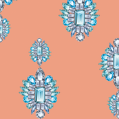 Jewelbox: Aquamarine Brooch on Coral Spice