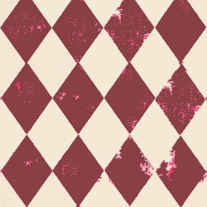 Marsala Red and Cream Harlequin Grunge Diamond with Pink Flecks