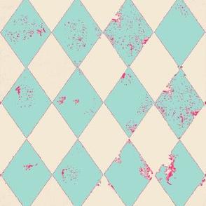 Mint and Cream Harlequin Grunge Diamond with Pink Flecks