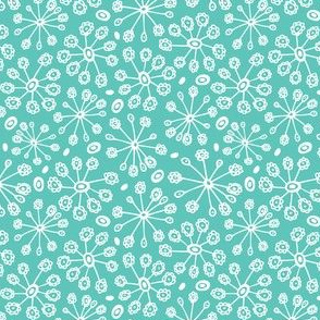 Dandy Blossom - Geometric Floral Aqua - Summer Breeze