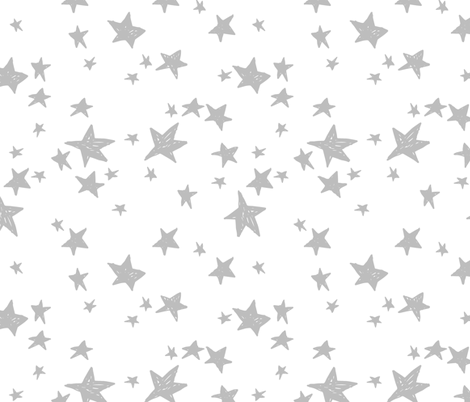 stars // white and grey star fabric nursery baby design andrea lauren fabric fabric by andrea_lauren on Spoonflower - custom fabric