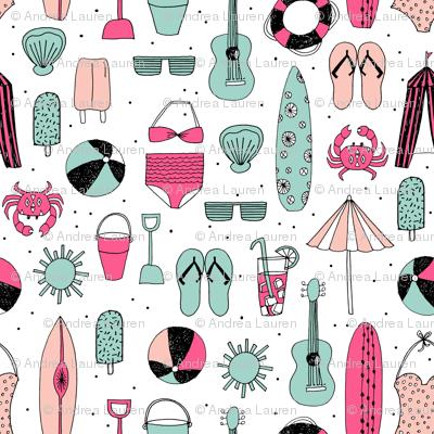 beach // summer pink and mint girls popsicle summer swimsuit surf flipflops