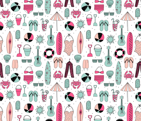 beach // summer pink and mint girls popsicle summer swimsuit surf flipflops fabric by andrea_lauren on Spoonflower - custom fabric
