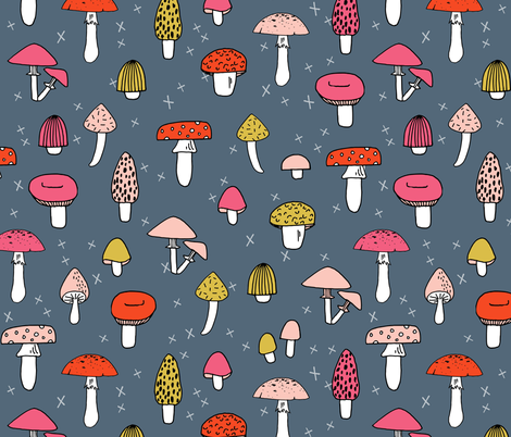 Mushrooms - Payne's Grey background by Andrea Lauren  fabric by andrea_lauren on Spoonflower - custom fabric