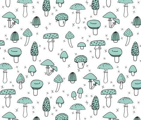 Mushrooms - Pale Turquoise by Andrea Lauren  fabric by andrea_lauren on Spoonflower - custom fabric