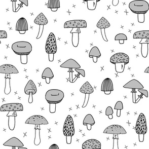 Mushrooms - Slate Grey by Andrea Lauren