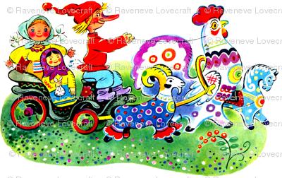 gnomes farmers peasants Matryoshka dolls carts wagons goats roosters horses colorful rainbow polka dots spots flowers rams russian vintage